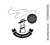 hot pan fresh cooking logo with ... | Shutterstock .eps vector #733456540