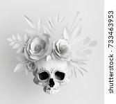 3d render  white floral skull ... | Shutterstock . vector #733463953