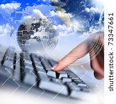 human hand and computer... | Shutterstock . vector #73347661
