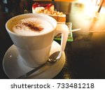 beverage  milk froth.is a cup... | Shutterstock . vector #733481218