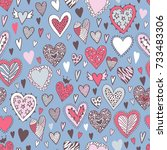 romantic seamless pattern with... | Shutterstock .eps vector #733483306