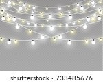 christmas lights isolated on... | Shutterstock .eps vector #733485676