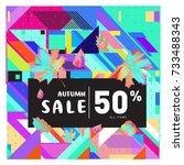autumn sale memphis style web... | Shutterstock .eps vector #733488343