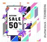 autumn sale memphis style web... | Shutterstock .eps vector #733488346