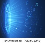 dynamic with lights and notes... | Shutterstock .eps vector #733501249