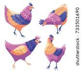 cartoon animals. hens. bird... | Shutterstock .eps vector #733501690