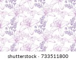 lilies and lavender pattern... | Shutterstock .eps vector #733511800