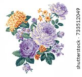 graceful flowers  the leaves... | Shutterstock . vector #733512049
