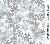 seamless pattern. snowflakes... | Shutterstock .eps vector #733515628