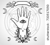 mystical symbol  human hand ... | Shutterstock .eps vector #733517050