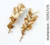 golden leaf design elements....   Shutterstock . vector #733517176