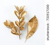 golden leaf design elements.... | Shutterstock . vector #733517200