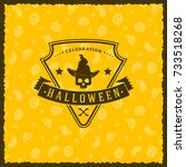 happy halloween badge  sticker  ... | Shutterstock .eps vector #733518268