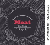 vector background with meat... | Shutterstock .eps vector #733522138