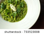 spinach meal with fresh cream... | Shutterstock . vector #733523008