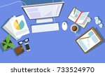 messy cluttered office desk | Shutterstock .eps vector #733524970
