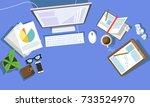 messy cluttered office desk | Shutterstock .eps vector #733524970