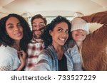 group of crazy young friends... | Shutterstock . vector #733527229