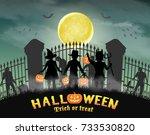 halloween kids in front of... | Shutterstock .eps vector #733530820