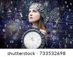 woman  time and numerology | Shutterstock . vector #733532698