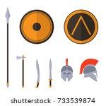 set of ancient greek spartan... | Shutterstock .eps vector #733539874