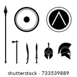 set of ancient greek spartan... | Shutterstock .eps vector #733539889