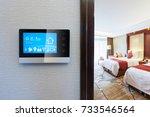 smart screen on wall and modern ... | Shutterstock . vector #733546564