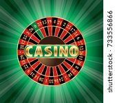 casino sign with roulette on... | Shutterstock .eps vector #733556866