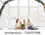christmas and new year 2018. a...   Shutterstock . vector #733557988