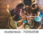 group of friends are... | Shutterstock . vector #733563538