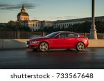 Small photo of Moscow, August 15, 2017 Jaguar XE sedan on the city street at dawn