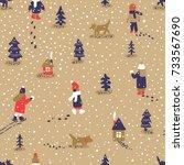 hand drawn vector fun winter... | Shutterstock .eps vector #733567690