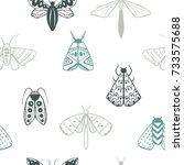 hand drawn doodle moths.... | Shutterstock .eps vector #733575688