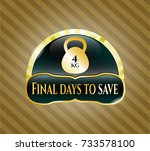 gold badge or emblem with 4kg... | Shutterstock .eps vector #733578100