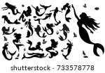 silhouette of a mermaid, collection | Shutterstock vector #733578778