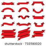 flat vector ribbons banners... | Shutterstock .eps vector #733580020