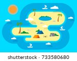 camping on the island. sailing...   Shutterstock .eps vector #733580680