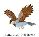 cartoon animal   sparrow flying ... | Shutterstock . vector #733582936
