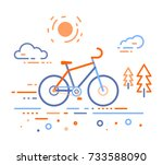 vector illustration of bicycle... | Shutterstock .eps vector #733588090