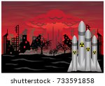 missile explodes with nuclear... | Shutterstock .eps vector #733591858
