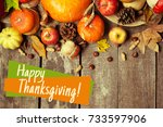 happy thanksgiving day display... | Shutterstock . vector #733597906