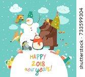 happy animals celebrating... | Shutterstock .eps vector #733599304