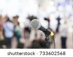 microphone in focus against... | Shutterstock . vector #733602568