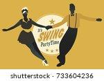 young couple dancing swing ... | Shutterstock .eps vector #733604236