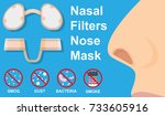 nasal filters nose mask dust... | Shutterstock .eps vector #733605916