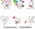 fat dog cartoon with heart shape | Shutterstock .eps vector #733606840