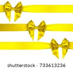 three satin lemon yellow color... | Shutterstock . vector #733613236