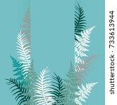fern frond frame vector... | Shutterstock .eps vector #733613944