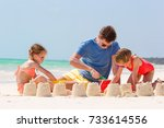 father and two girls playing... | Shutterstock . vector #733614556