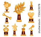 set of golden trophies and... | Shutterstock .eps vector #733615078